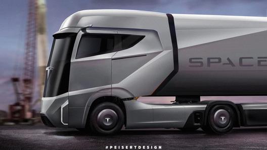Tesla показала вглобальной сети 1-ый рендер своего грузового автомобиля